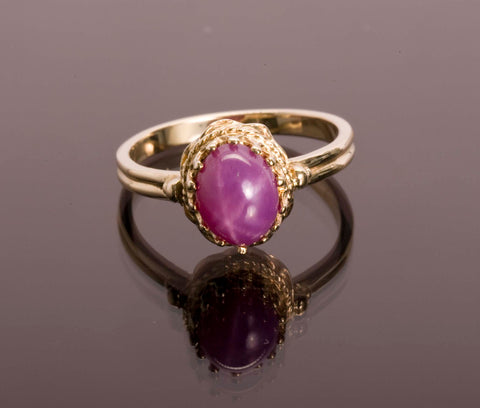 Gorgeous Star Ruby 14k Yellow Gold Ring Size 8