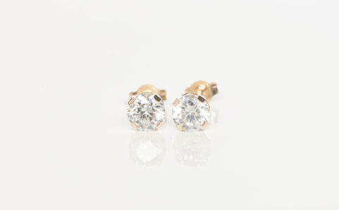 Stud Stone Earrings 14k Yellow Gold Prong Setting
