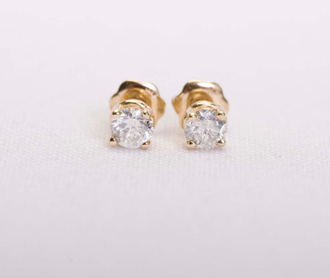 .50ctw Diamond Studs 14k Yellow Gold Screw Backs Only $175
