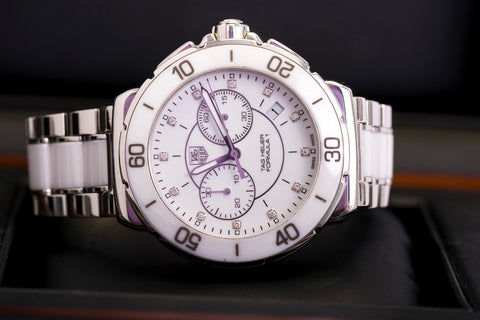white diamond dial tag heuer formula one watch