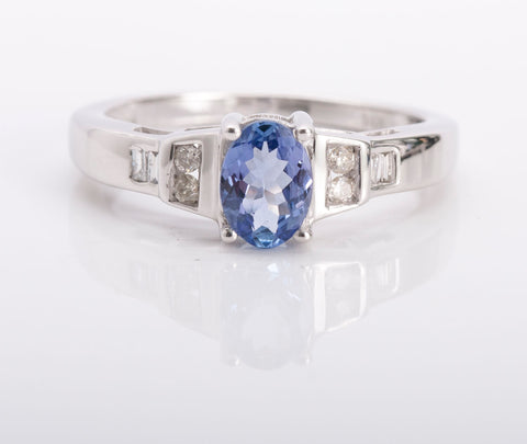 Tanzanite and Diamond Ring 14k