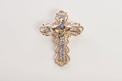 Gorgeous 14k Yellow Gold Tanzanite Cross Pendant