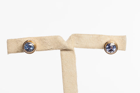 14k Yellow Gold Tanzanite Stud Earrings
