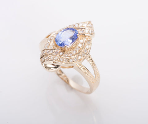 Tanzanite Diamond Ring in Yellow Gold