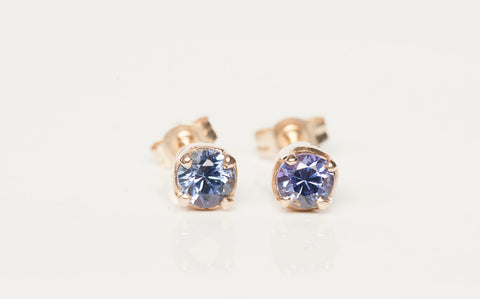 Dainty Tanzanite Stud Earrings 14k Yellow Gold