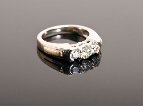 Gorgeous Three Stone Engagement Ring 14k White Gold .76ctw Natural Diamonds
