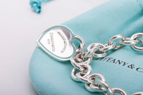 Authentic TIFFANY & CO Sterling Silver Roman Cross and Enamel Tag Heart Bracelet