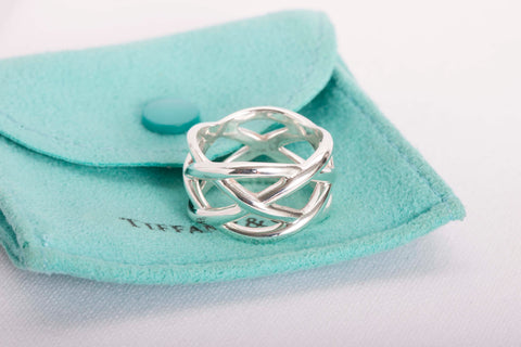 Tiffany & Co Sterling Silver Braid Weave Knot Celtic Wide Band Ring