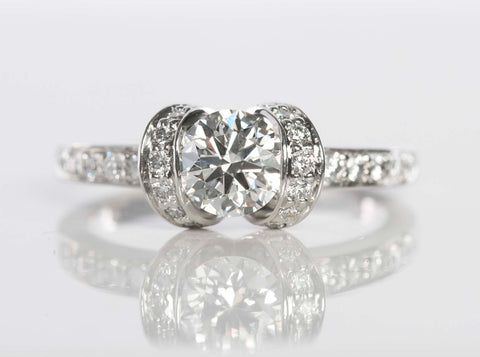 Tiffany & Co. .96tcw Platinum Diamond Ribbon Engagement Ring Sz 5.5 Ret. 00