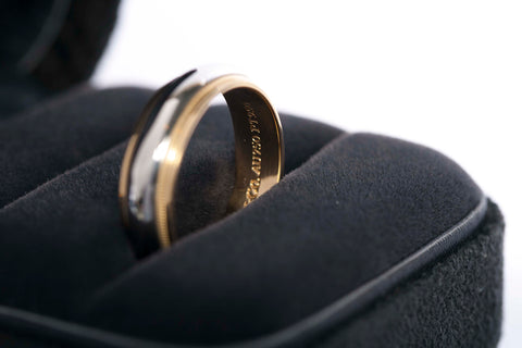 Authentic Tiffany & Co Mens Platinum & 18K Gold Band