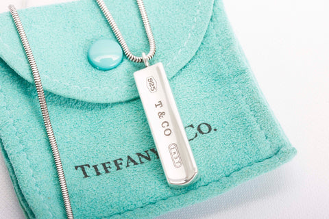 Auth Tiffany & Co 1837 Bar Pendant Necklace 17""