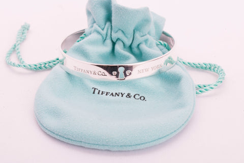Authentic TIFFANY & CO Sterling Silver Diamond Key Hole Bangle Bracelet