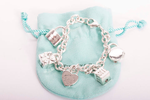 Tiffany & Co Sterling Silver Lock, Gift Box, Heart, Padlock Charm Bracelet