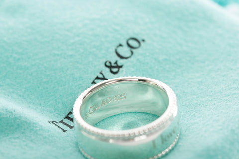 Authentic TIFFANY & CO Sterling Silver Beaded I LOVE YOU Band Ring