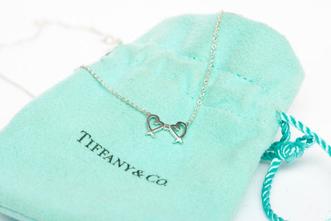 Tiffany & Co Paloma Picasso Double Mini Hearts Diamond Necklace Silver