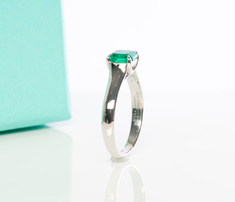 Platinum Tiffany & Co Lucida Solitaire Ring with Emerald