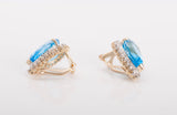 Gorgeous Topaz Diamond Omega Back Earrings 14k Yellow Gold