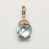 14K Gold Blue Topaz and Diamond Heart Pendant