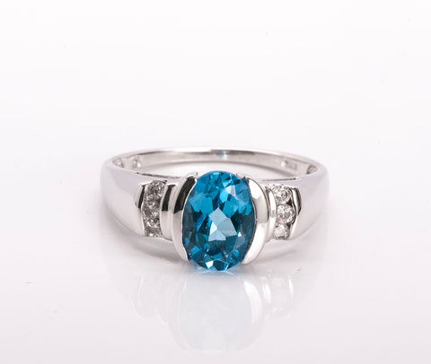 14k White Gold Blue Topaz Diamond Ring