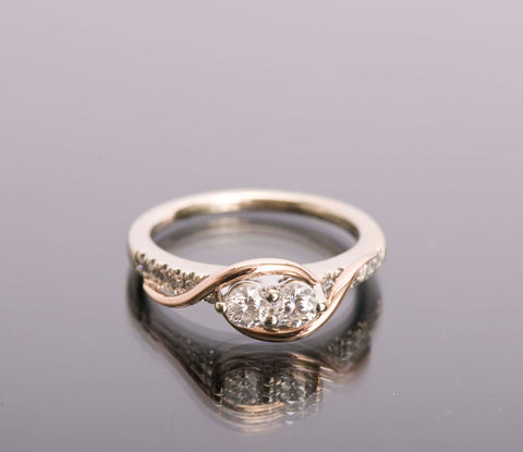 EVER US 1/2 TCW Diamond Engagement Ring Rose & White Gold Size 6.5