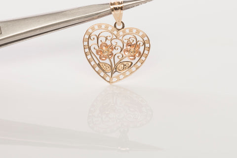 14k Tri-Tone Gold Heart and Flower Pendant