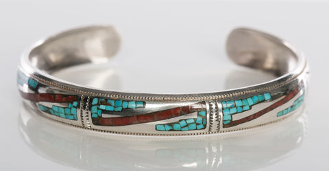 Sterling Silver Native American Inlay Cuff Bracelet