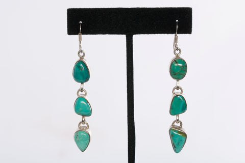 Sterling Silver Vintage Turquiose Drop Earrings