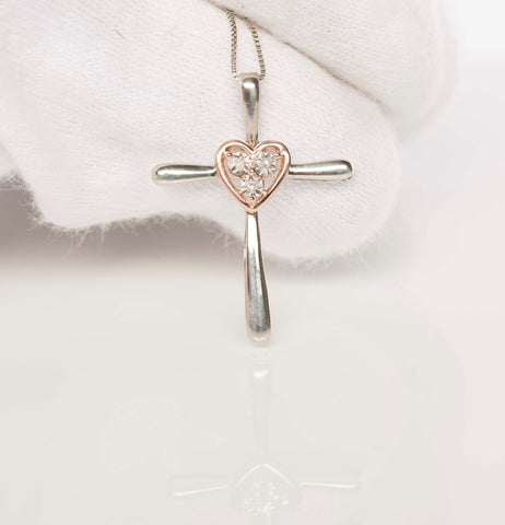 Gorgeous White & Rose Gold Heart Diamond Cross Necklace