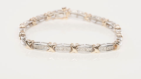 Sweet 10k Two-Tone Gold 1.40 tcw Diamond X Bracelet