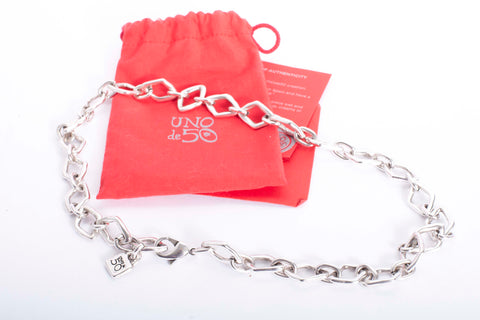 Uno De 50 Square Link Chain Necklace