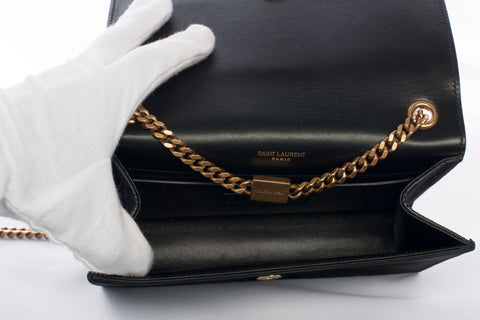 Yves Saint Laurent Black Suede Star Studded Kate Chain Bag