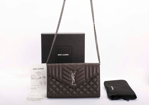 Auth Yves Saint Laurent Monogram Matelasse Chain Wallet LKWN with Receipt