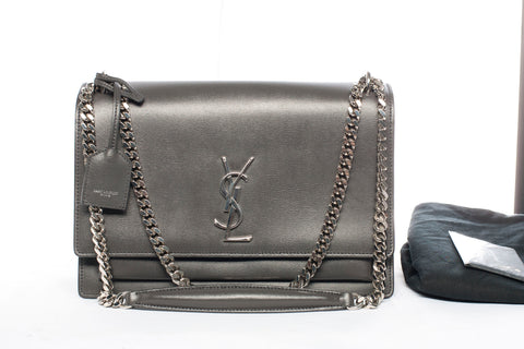 Yves Saint Laurent Large Sunset Grey Leather Shoulder Bag