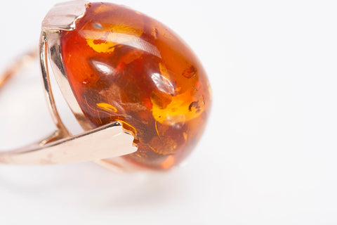 Amber and Rose Gold Ring from the USSR