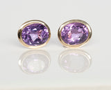 14K Yellow Gold and Amethyst Stud Earrings