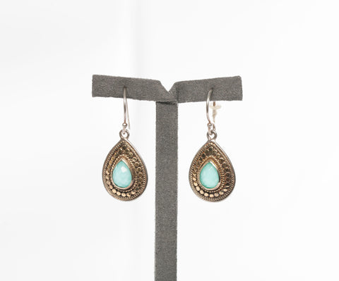 Anna Beck Turquoise Earrings 2 Tone