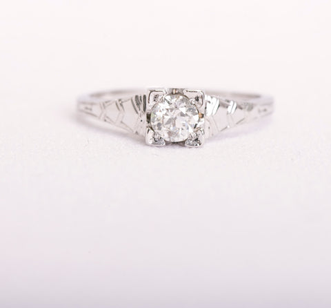 antique white gold engagement ring diamond
