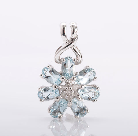 10k White Gold Blue Topaz and Diamond Pendant