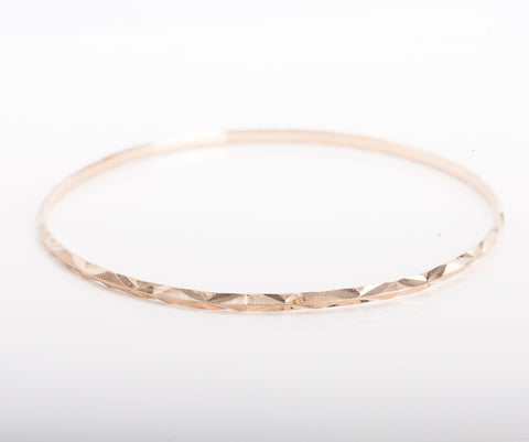 18k Rose Gold Diamond Cut Bangle Size 8""