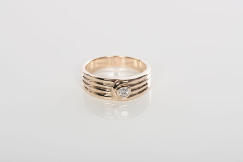 14k Yellow Gold Mens Diamond Band