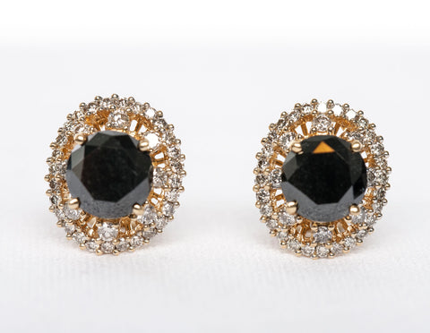 Gorgeous Halo Style Black Diamond Earrings 18k Yellow Gold Omega Backings