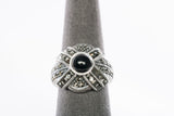 Ladies Silver Marcasite and Onyx Ring