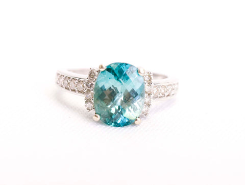 14k White Gold Diamond and Blue Stone Ring