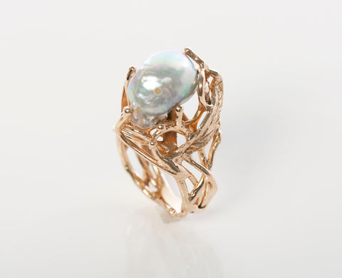 Mabe Pearl Ladies 14k Yellow Gold Ring Size 5
