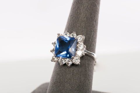 Beautiful Silver & Synthetic Sapphire with Halo Cocktail Ring