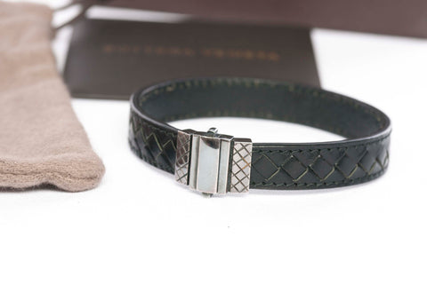 Authentic Bottega Veneta Intrecciato Black Bracelet