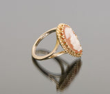 Vintage Esate Orange Cameo Ring 14k Gold