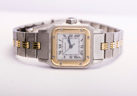 cartier santos watch two tone automatic