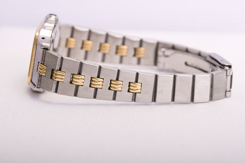cartier santos with two tone gold bracelet