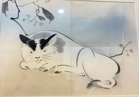 Vintage Japanese Bobtail Cat Framed Woodblock Print